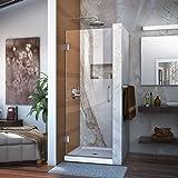 "DreamLine Unidoor 27 in. Width, Frameless Hinged Shower Door, 3/8"" Glass, Chrome Finish"