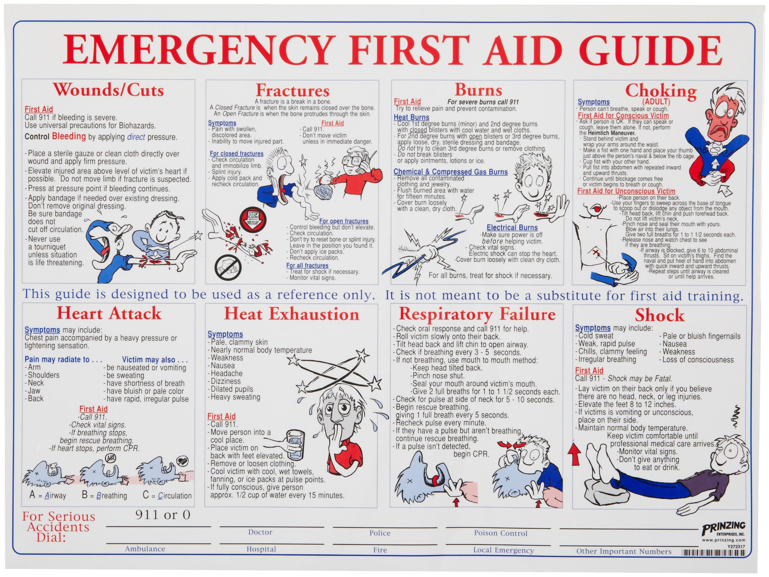 Brady PS128E 18'' Height, 24'' Width, Laminated Paper, Black, Red, Blue On White Color Prinzing First Aid Training Poster, Legend ''Emergency First Aid Guide''