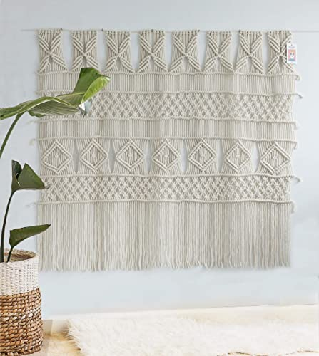 Macrame Wall Hanging Macrame Curtain Panel Boho Wedding Woven Wall Art Home Wall D cor,52″x 47″