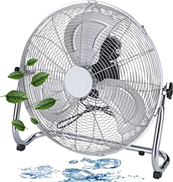 Bodenventilator Windmaschine 3 Stufen Lüfter Chrom Metall Standventilator kühl