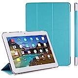 LNMBBS Custodia per Tablet 10 Flip Cover PU in Pelle e fondello in Acrilico, per YOTOPT 10.1 / BEISTA 10.1 / SUMTAB10.1 / SANNUO 10.1 Tablet (Blu)