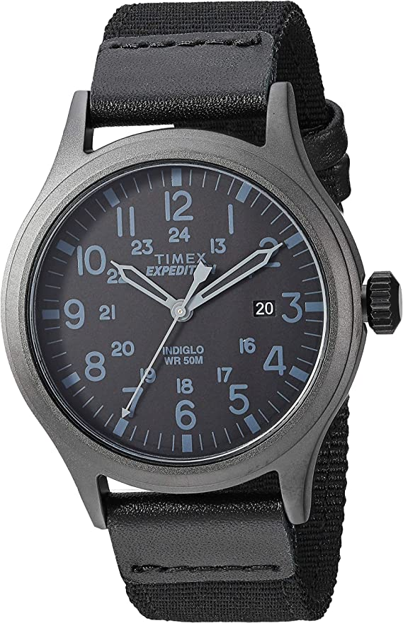 Timex Men's TW4B14200 Expedition Scout 40mm Black Leather/Nylon Strap Watch