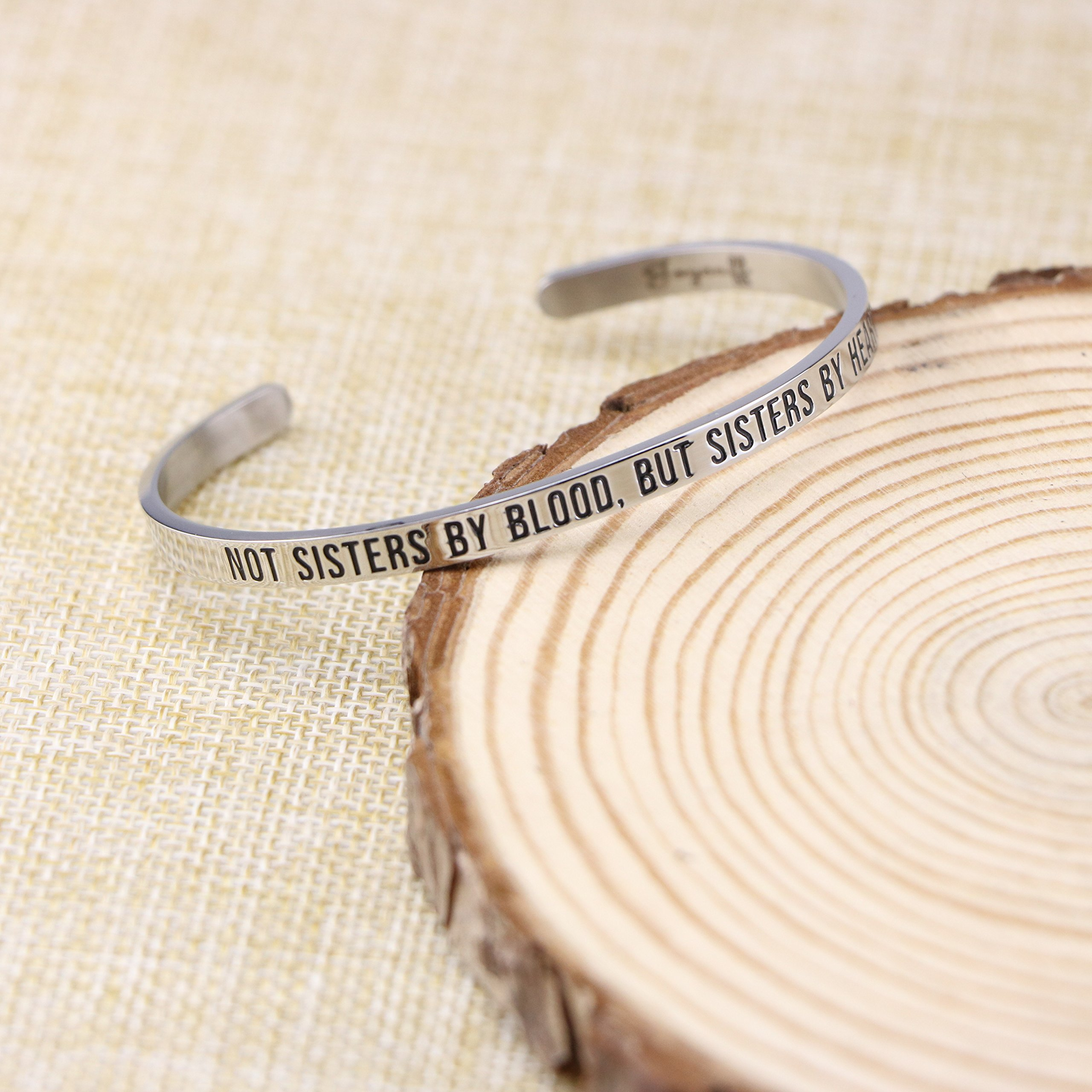 Joycuff Best Friend Bracelet Cuff Engravable Mantra Bangle BFF Jewelry Gifts for Her Not sisters by blood, but sisters by heart by Joycuff (Image #2)