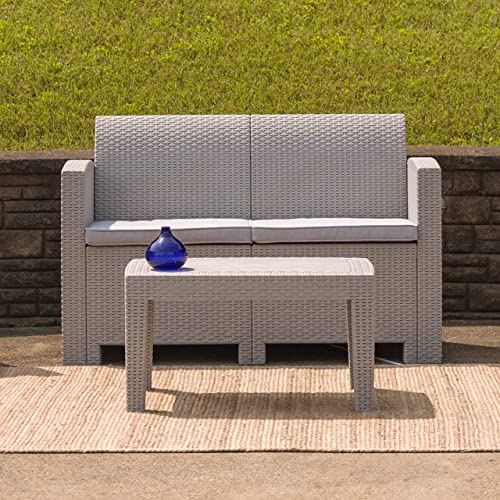Flash Furniture Light Gray Faux Rattan Loveseat with All-Weather Light Grey Cushions