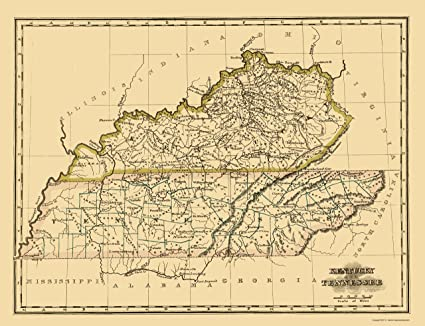 Amazon Com Old State Map Kentucky Tennessee Morse 1823 23 X