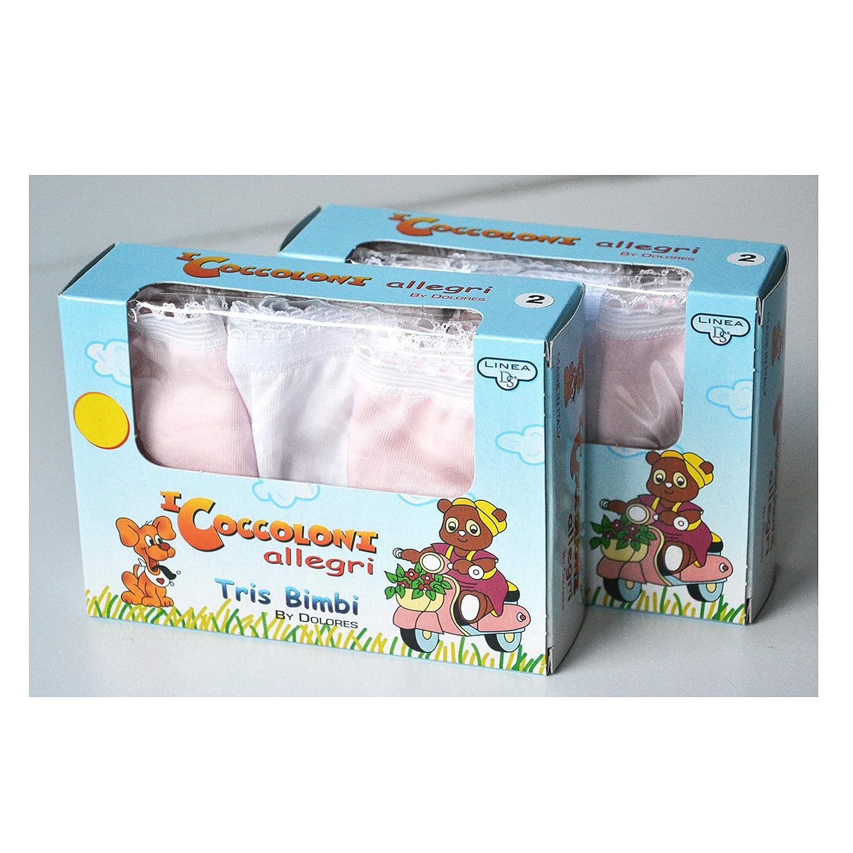 Fontana Calze Set da 6 Pezzi di Slip Bambina in Cotone 100/% con Filato e Colori anallergici e Taglie dalla 2 Anni alla 8