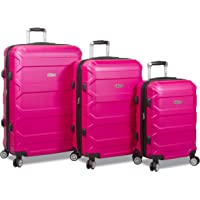 3-Piece Dejuno Logan Hard-Sided Spinner Luggage Set with Built-in Combination Lock (Fuchsia)