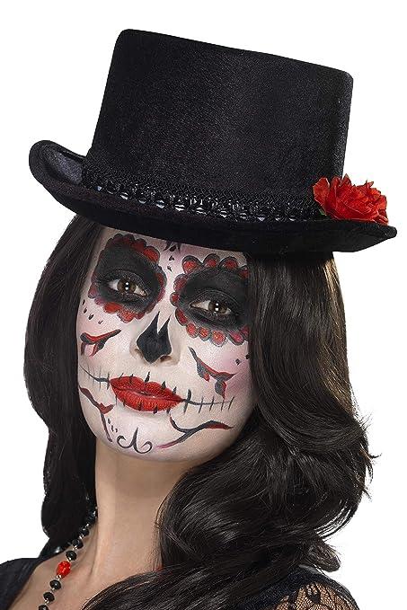 zum Halloween und Karnevalskostüm Damen Augenmaske Day of the Dead mit Rosen
