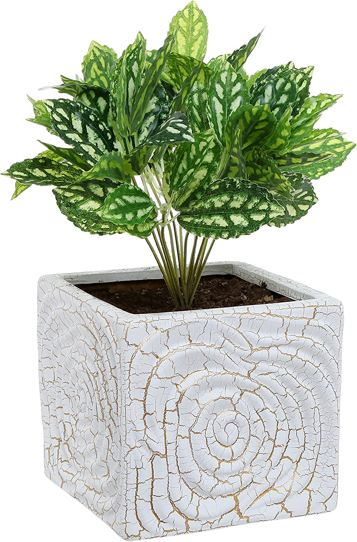MyGift 6 Inch Decorative Spiral Design Square White Ceramic Plant Flower Container Pot Windowsill Planter