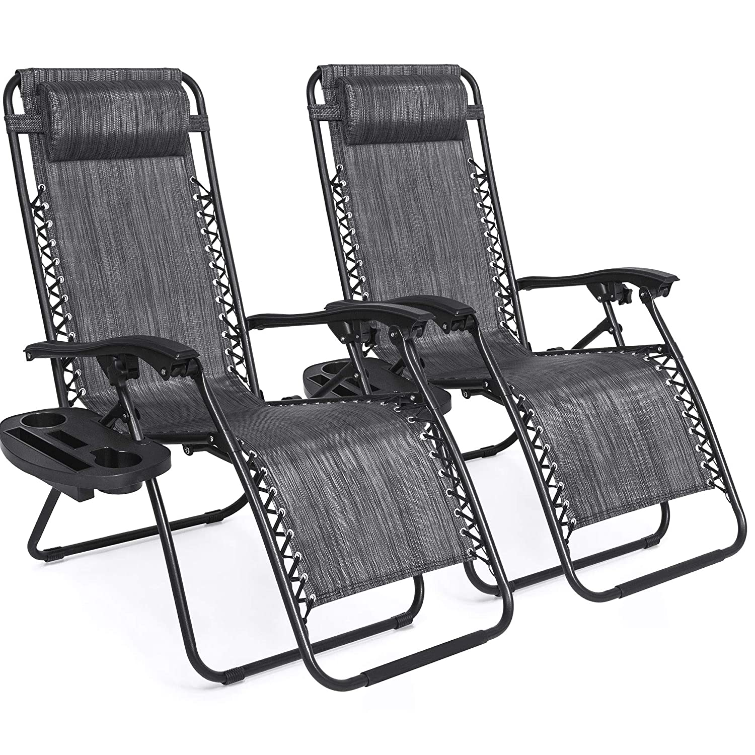 Best Choice Products Set of 2 Adjustable Zero Gravity Lounge Chair Recliners for Patio, Pool w/Cup Holder Trays, Pillows - Gray