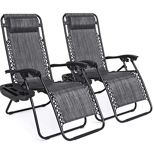 Best Choice Products Set of 2 Adjustable Zero Gravity Lounge Chair Recliners for Patio, Pool w Cup Holder Trays, Pillows – Gray
