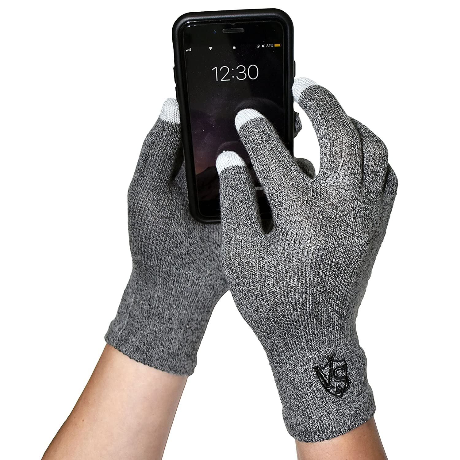 Vital Salveo - Full Finger Recovery Touchscreen Gloves for Phones and Tablets(Pair)/Dark Grey- S Vital Silver
