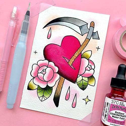 Amazon Com Scythe Heart Watercolor Traditional Tattoo Flash Print
