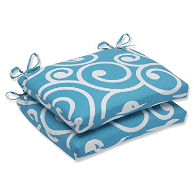 "Pillow Perfect 563398 Outdoor/Indoor Best Square Corner Seat Cushions, 18.5"" x 16"", Turquoise: Home & Kitchen"