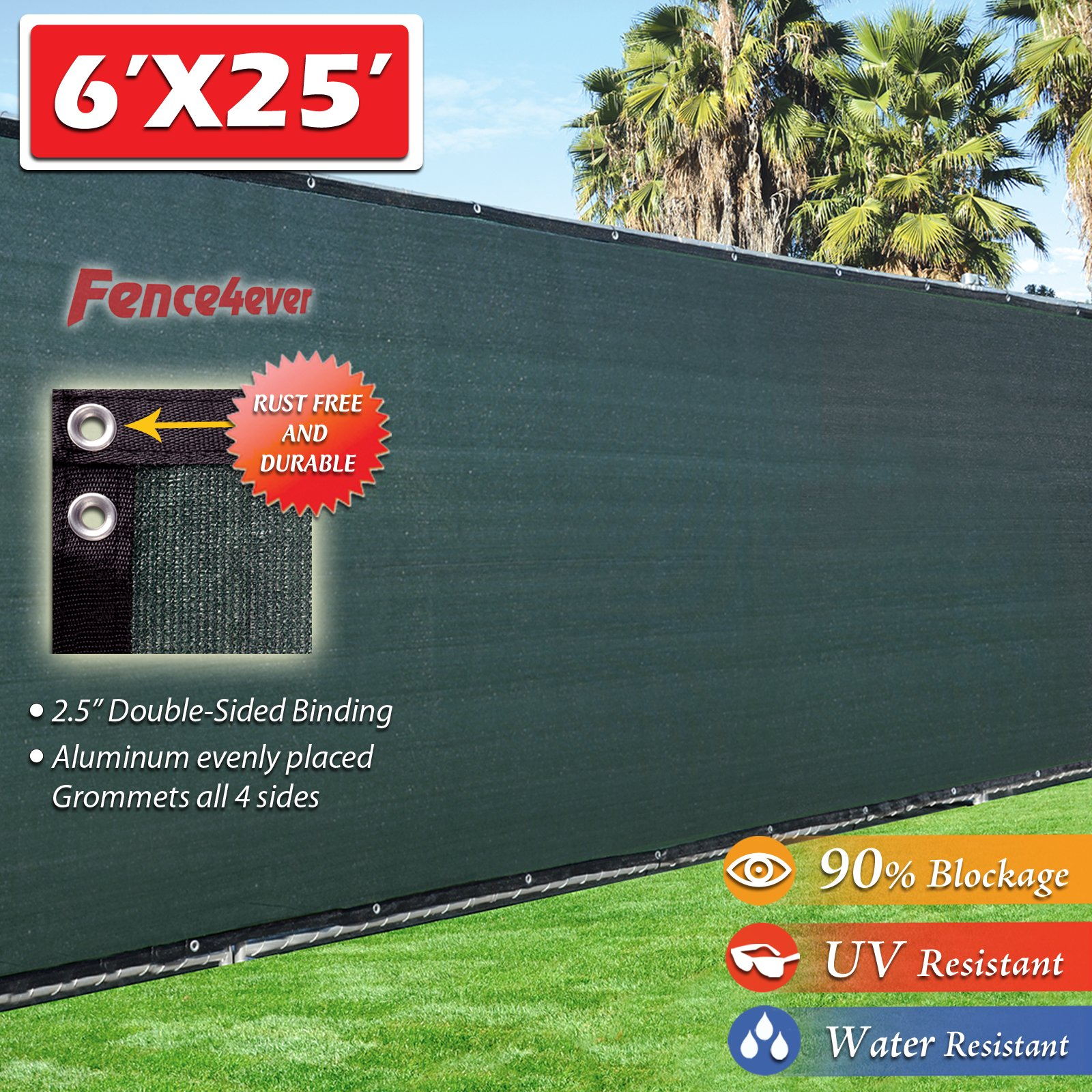 Fence4ever 6'x25' 3rd Gen Dark Green Fence Privacy Screen Windscreen Shade Cover Mesh Fabric (Aluminum Grommets) Home, Court, or Construction