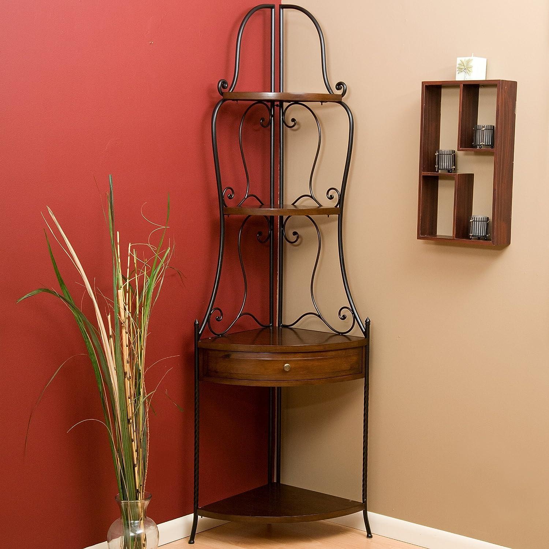Amazon  Wrought Iron Corner Bakers Rack With Wood Shelves, Heritage  Oak Finish  Corner Baker's Racks