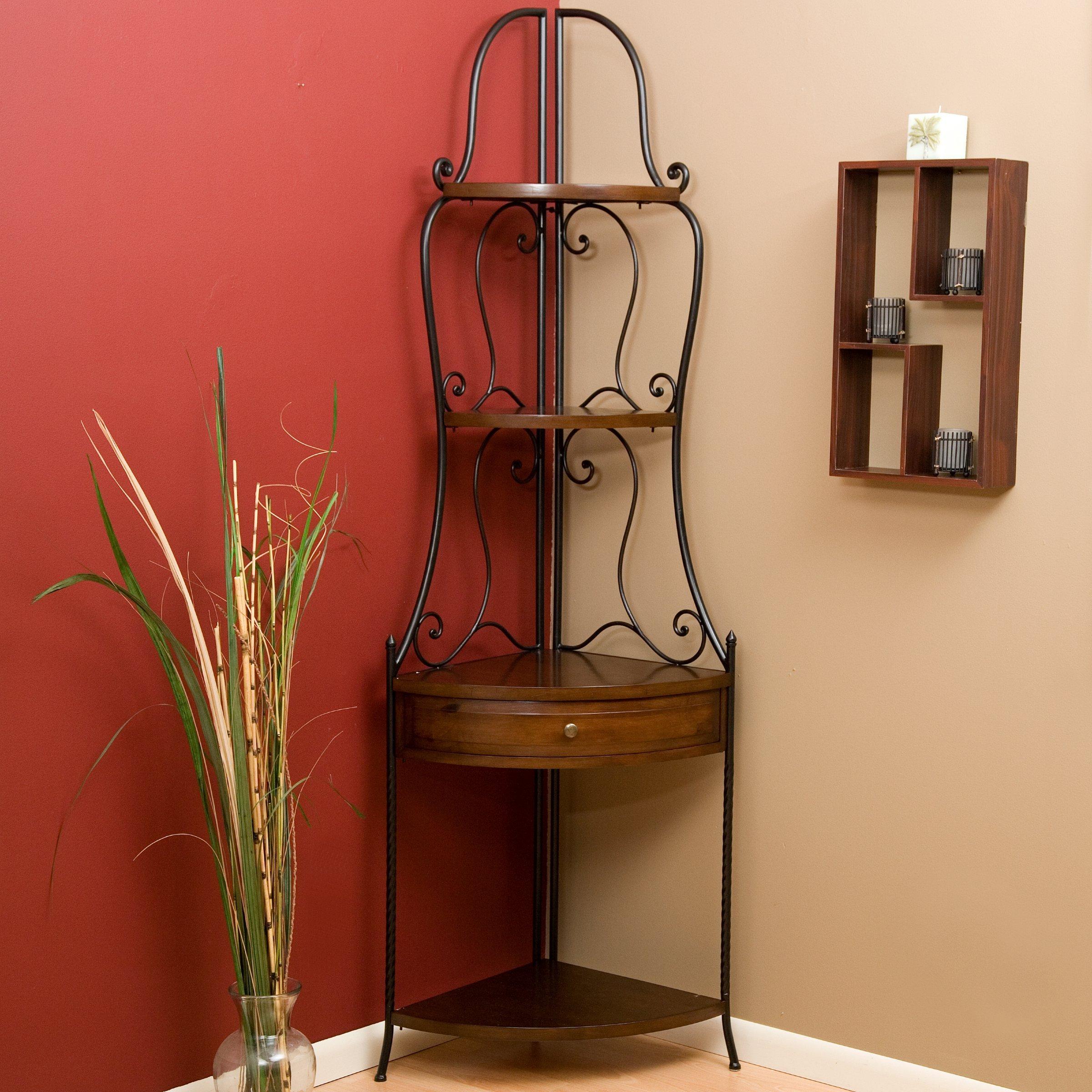 Wrought Iron Corner Bakers Rack with Wood Shelves, Heritage Oak Finish by Belham Living (Image #2)