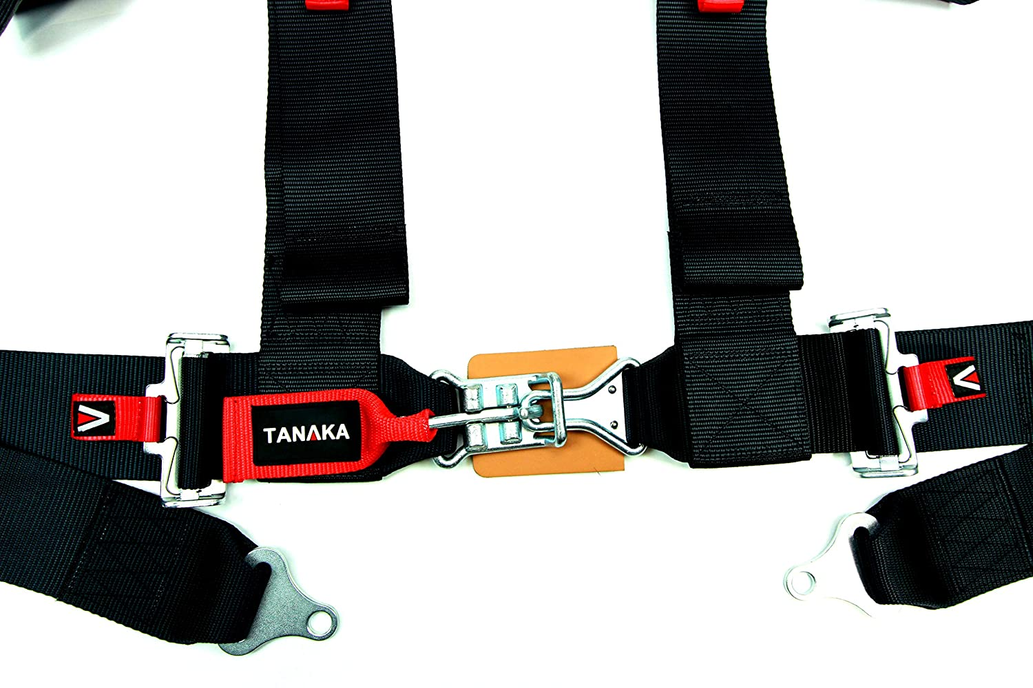 Black Tanaka Latch and Link 4 Point Safety Harness Set with Ultra Comfort Heavy Duty Shoulder Pads and Utility Pockets Ideal for UTV and Sand Sports PAIR