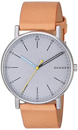 fbf7dc1c98 Skagen Men's Signatur Stainless Steel Quartz Watch with Leather Calfskin  Strap, Brown, 20 (