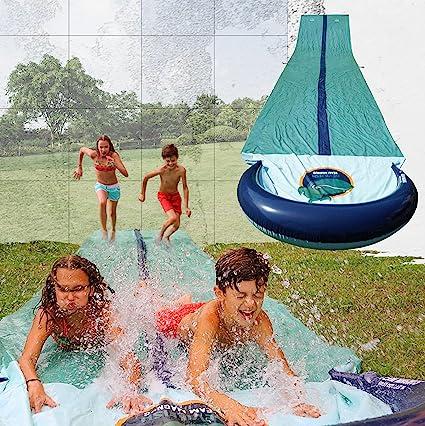 Scivolo Gonfiabile da Giardino Doppio Slip And Slide con 2 Bodyboards per Bambini Adulti Divertimento allAperto Giochi dAcqua joylink Scivolo Acqua 4.8 x 1.4m