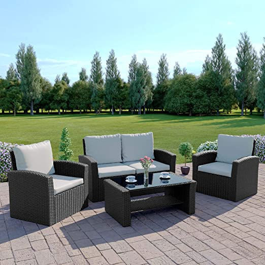 Mueble de jardín ROMA de mimbre, para patio, invernadero, juego de sofá, incluye funda de protección exterior, negro: Amazon.es: Jardín