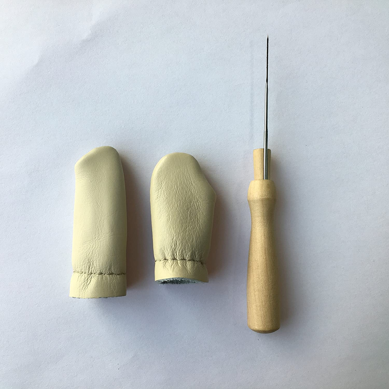 1pc Wooden Felting Handle with 1x needle + 2pcs Needle Felting Finger Protectors Leather Finger Cot Necessary for Every Felter by Truslin Linge 4336935807