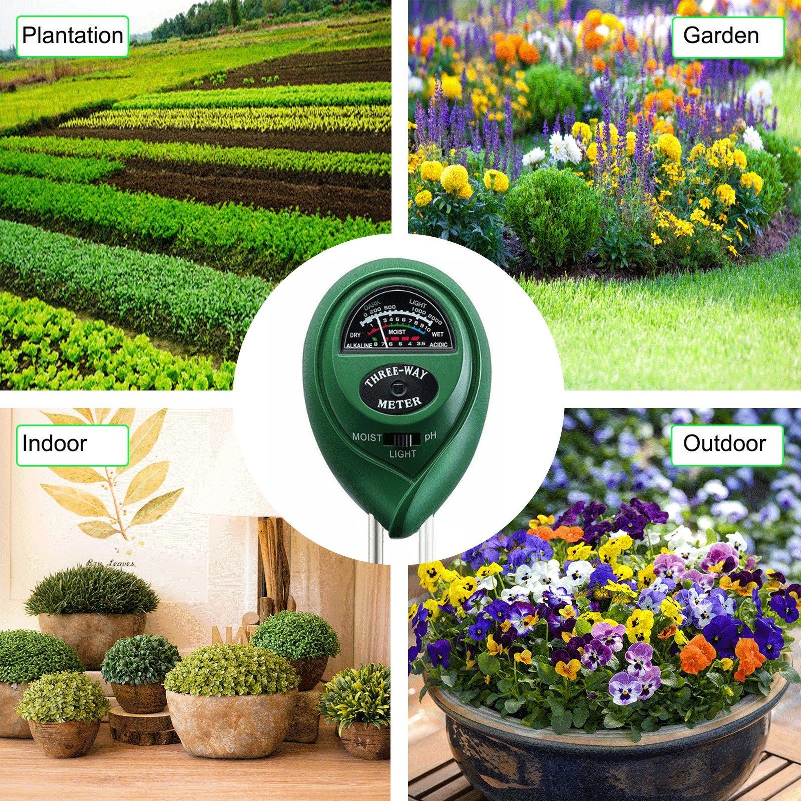 Banfeng Soil pH Meter, 3 in 1 Soil Tester Kit Gardening Tools PH, Light & Moisture,Great Garden, Farm, Lawn, Indoor & Outdoor (No Battery Needed)