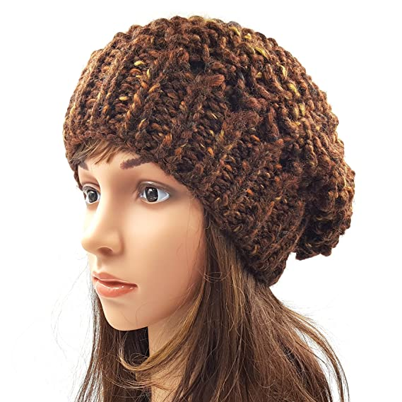 Magic Needles Winter Woolen Cap (Handmade Womens Netted Slouchy Beanie -  Dark Brown  Amazon.in  Clothing   Accessories 1355b1c3097