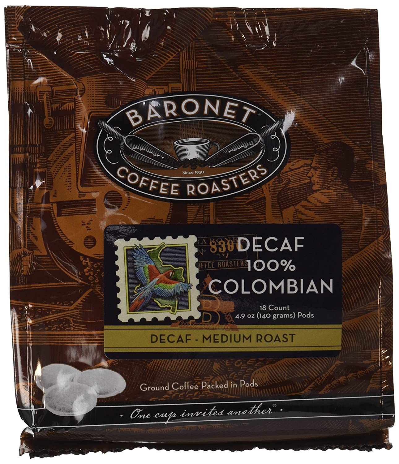 Baronet Coffee Decaf Colombian Coffee Pods, 54 Count