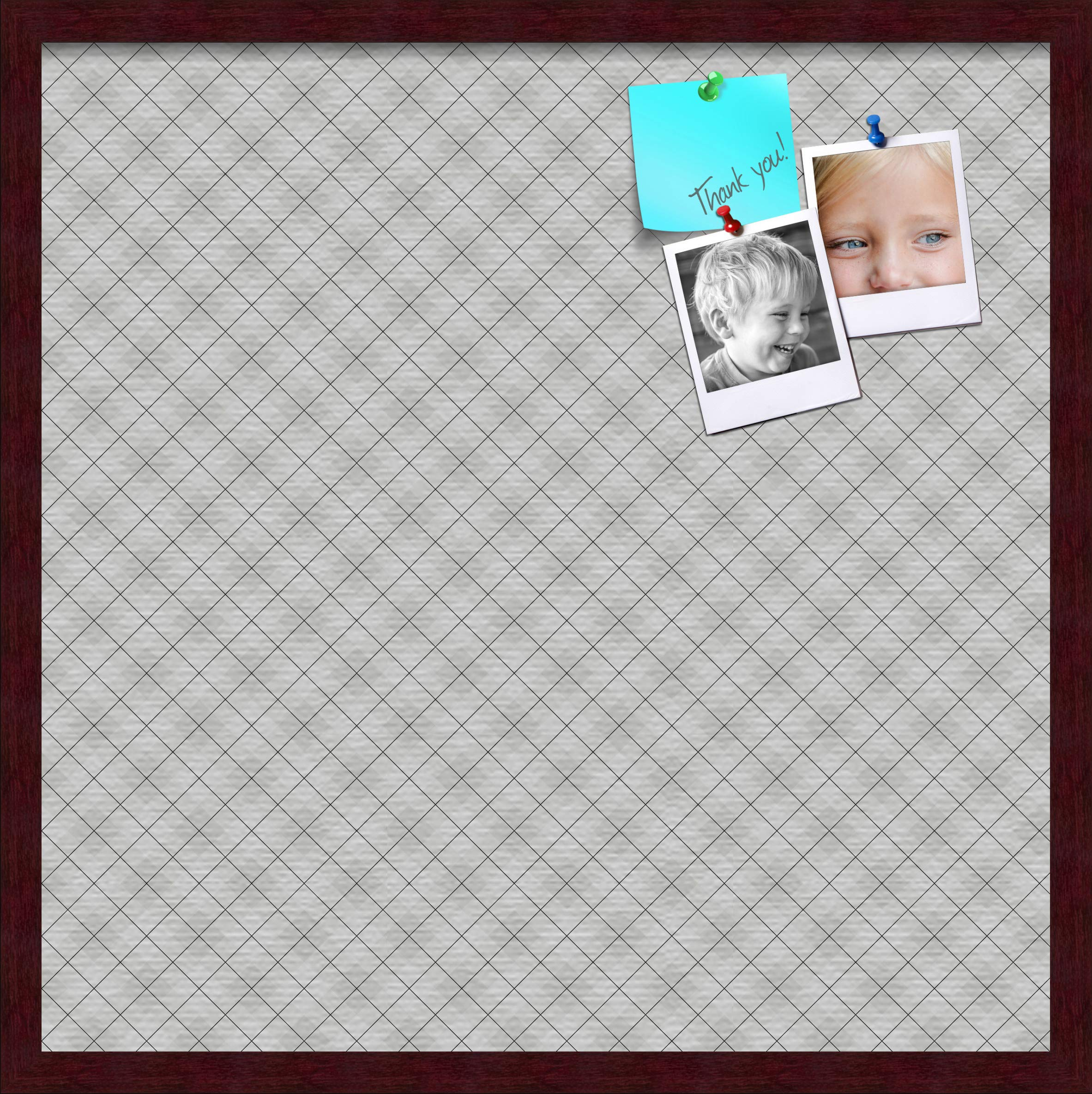 ArtToFrames 24x24 Inch Custom Cork Bulletin Board. This Argyle Gray Pin Board Comes Has a Fabric Style Canvas Finish, in a Mahogany Frame (PinPix-638-24x24_FRBW26039) by PinPix