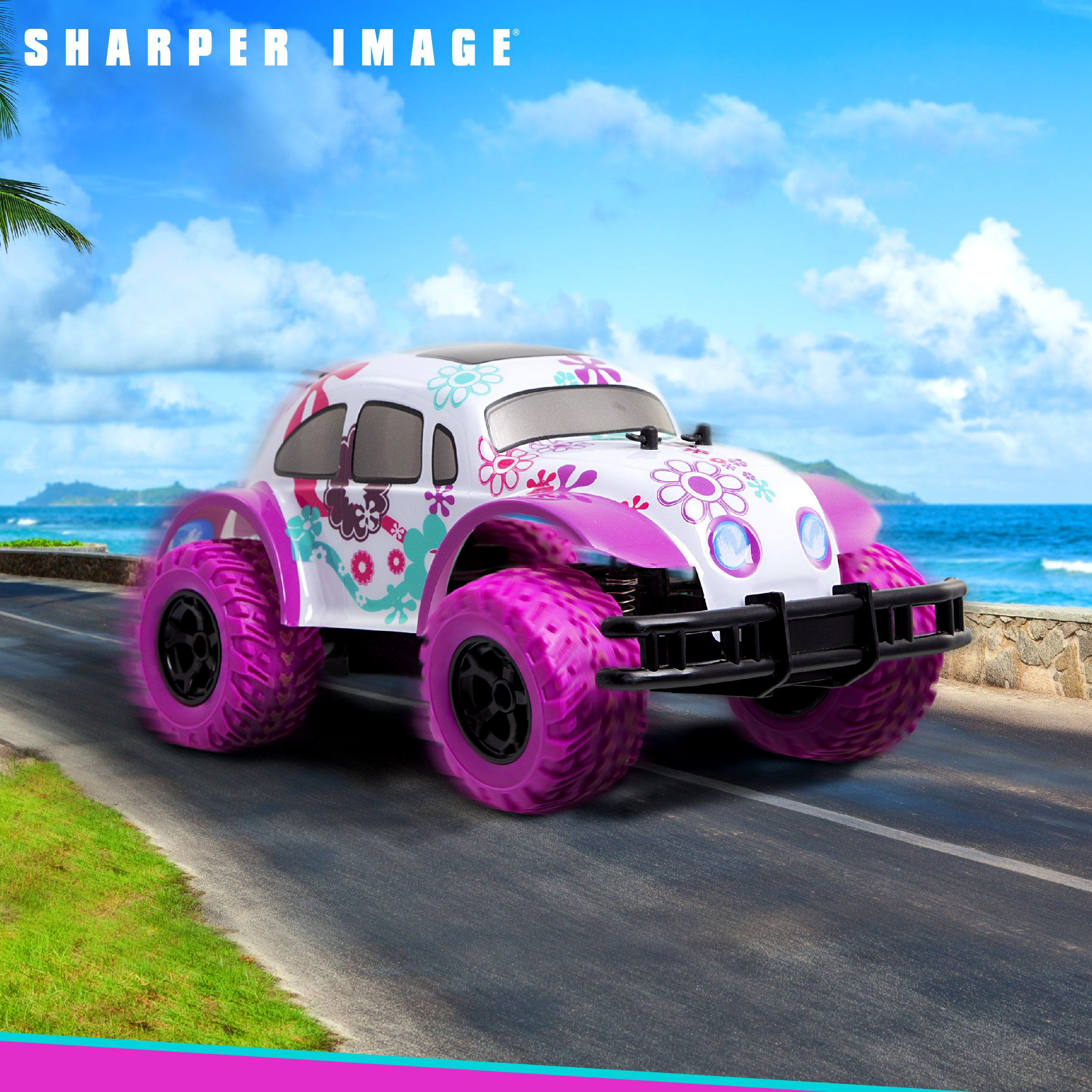 SHARPER IMAGE Pixie Cruiser Pink and Purple RC Remote Control Car Toy for Girls with Off-Road Grip Tires; Princess Style Big Buggy Crawler w/ Flowers Design and Shocks, Race Up to 5 MPH, Ages 6 Year + by Sharper Image (Image #3)