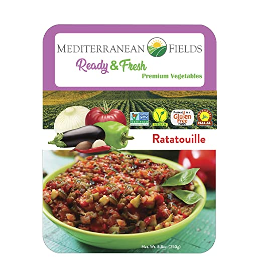 Campos mediterráneos, comidas y verduras embaladas. Sin ...