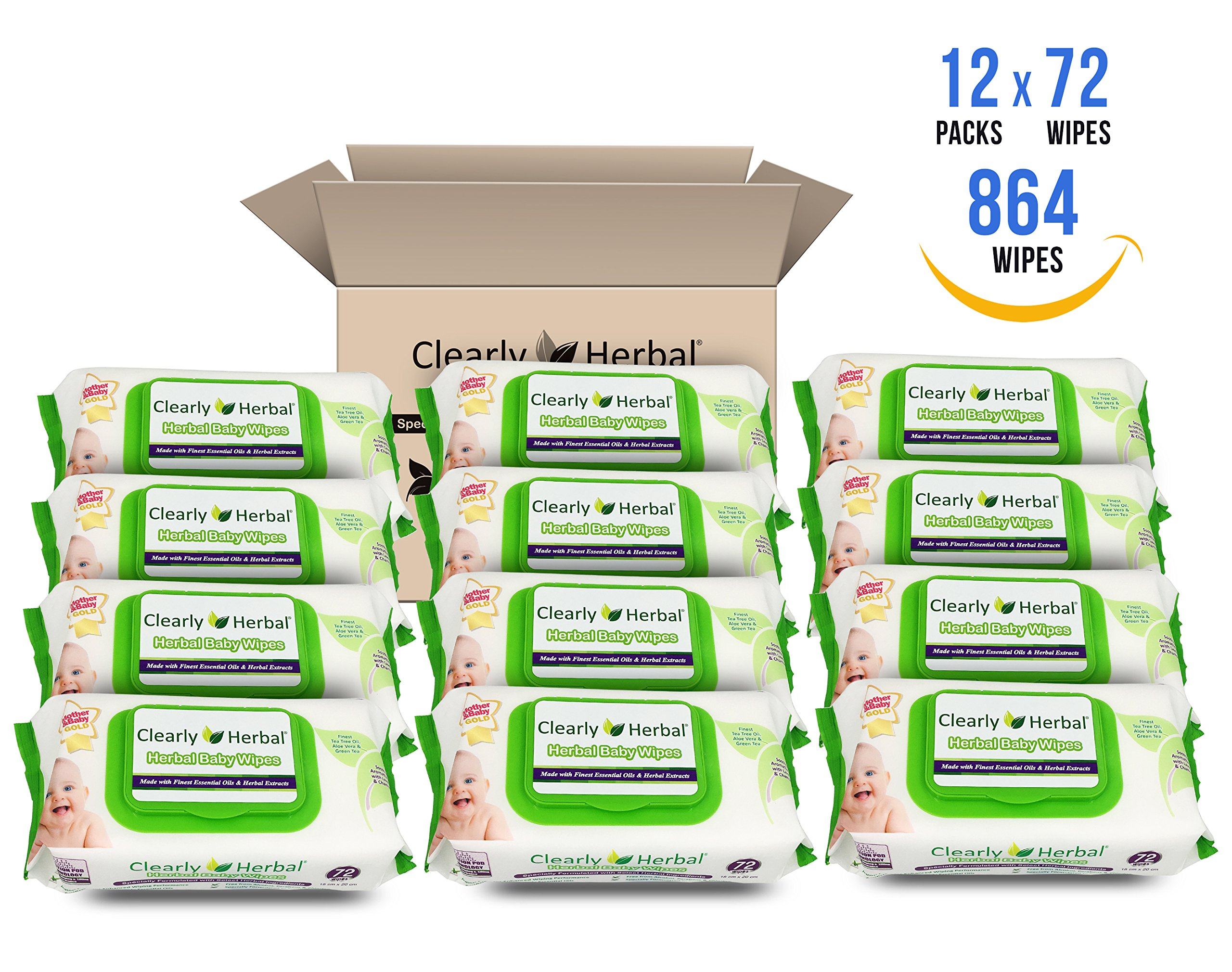 Clearly Herbal Gentle Baby Wipes 72 count ( 72 count x 12 packs = 864 wipes / case) )