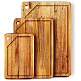 KARRYOUNG Acacia Wood Cutting Board (Set of 3) with Juice Grooves - Wooden Chopping Board for Meat, Vegetables, Fruit…