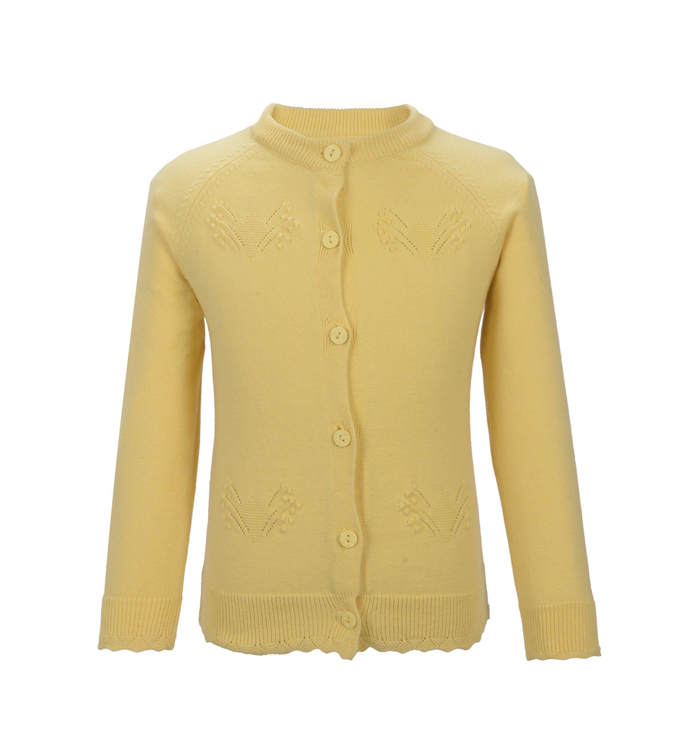 PuTian Kids-Baby Girl Long Sleeve Knitted Cardigan Sweater-Yellow-[5-6Years]