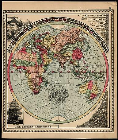 Australia India Map.Amazon Com World Sphere Asia Africa Australia India C 1888 Map