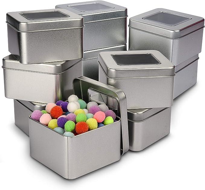 Caja de Metal con Tapa (Pack de 10) - Contenedor Metalico Multi Almacenamiento (9 x 9 x 5,5cm) Cajas de Metal sin Bisagra - Lata Vacía Tapa Transparente, Cosméticos, Especias, Hilo, Monedas