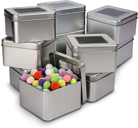 Caja de Metal con Tapa (Pack de 10) - Contenedor Metalico Multi Almacenamiento (9 x 9 x