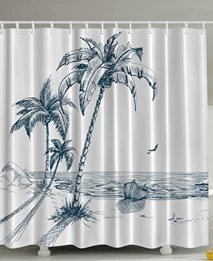 Ambesonne Nautical Shower Curtain Palms Beach Tropical Decor Shadow Wooden Boat Ocean Waves Rocks Desert