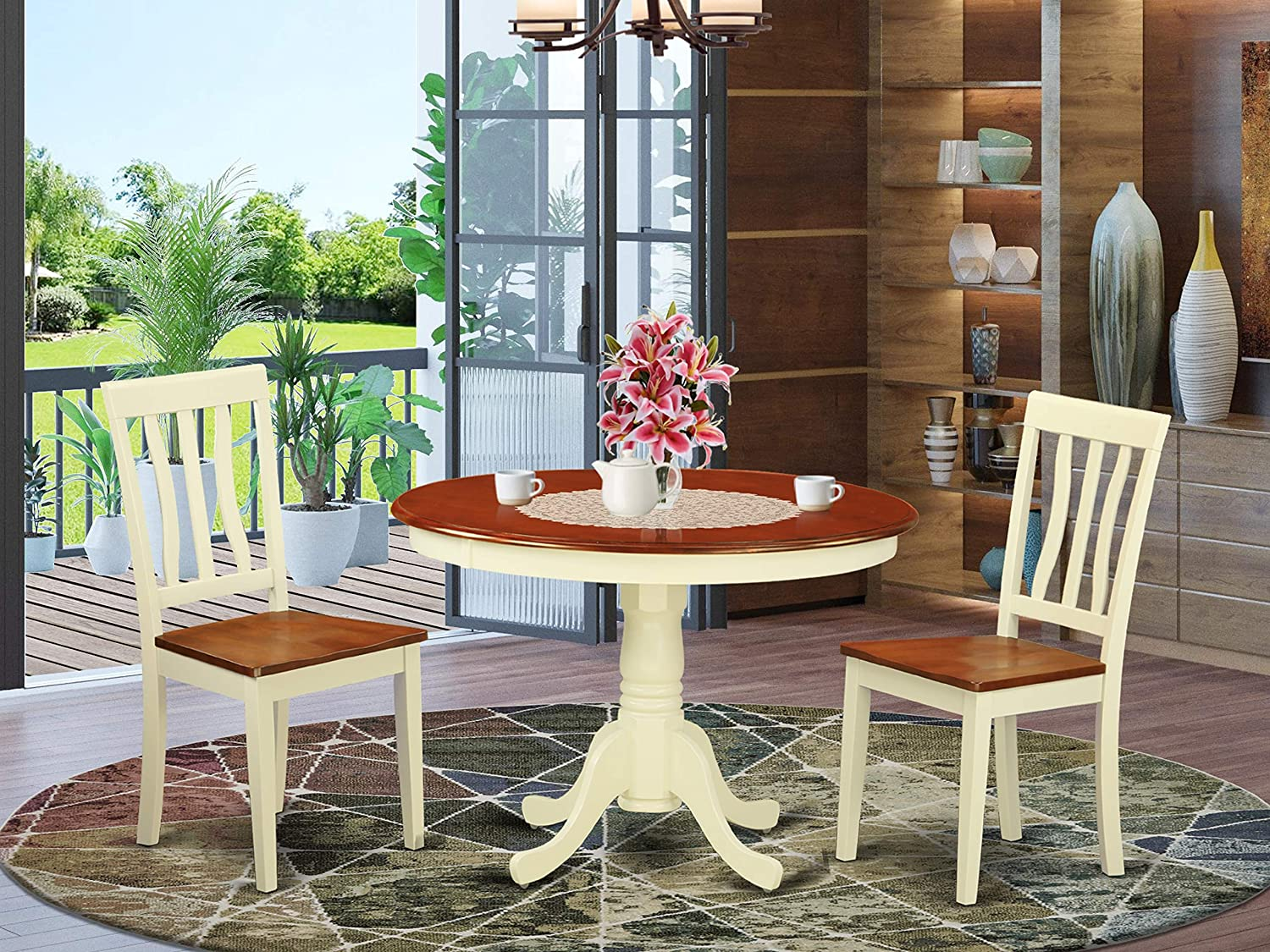 East West Furniture 3-Piece Dining Room Table Set Included a Round Table and 2 Wood Kitchen Chairs - Cherry Solid Wood Dining Chairs Seat & Slatted Back - Buttermilk Finish