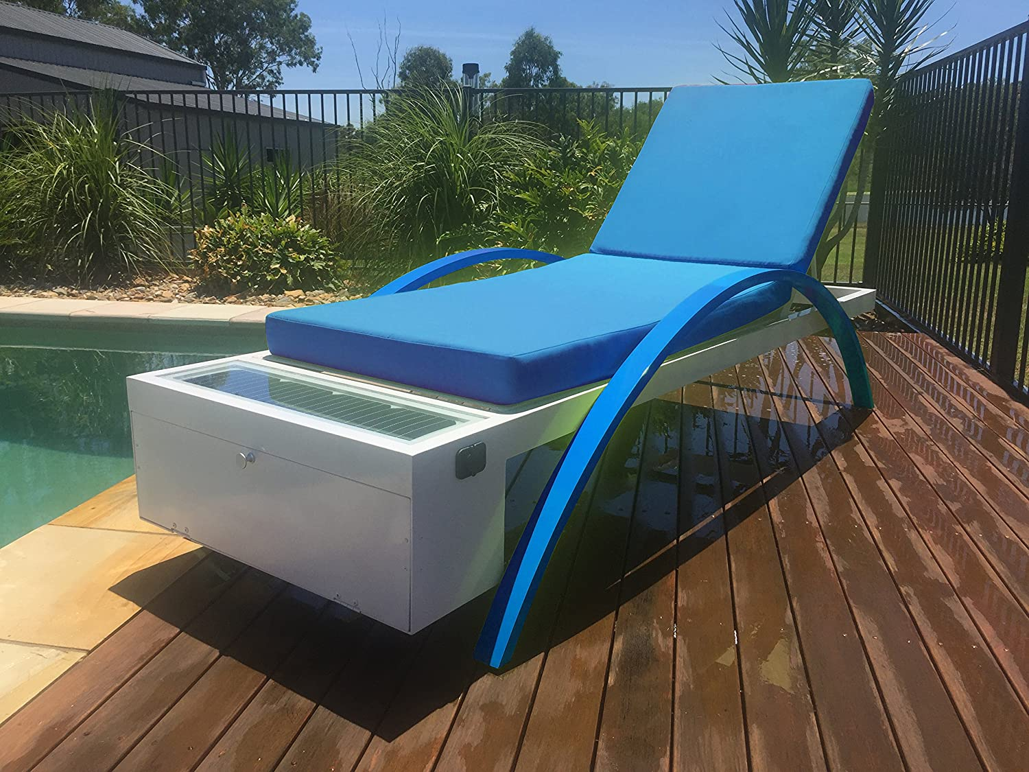Solar Powered Chaise Lounge with Solar Panel for Charging Phones, Laptops and Tablets. Includes Two USB Charging Ports, 12v Power Outlet and Locker. All-Weather Outdoor Patio (Blue)
