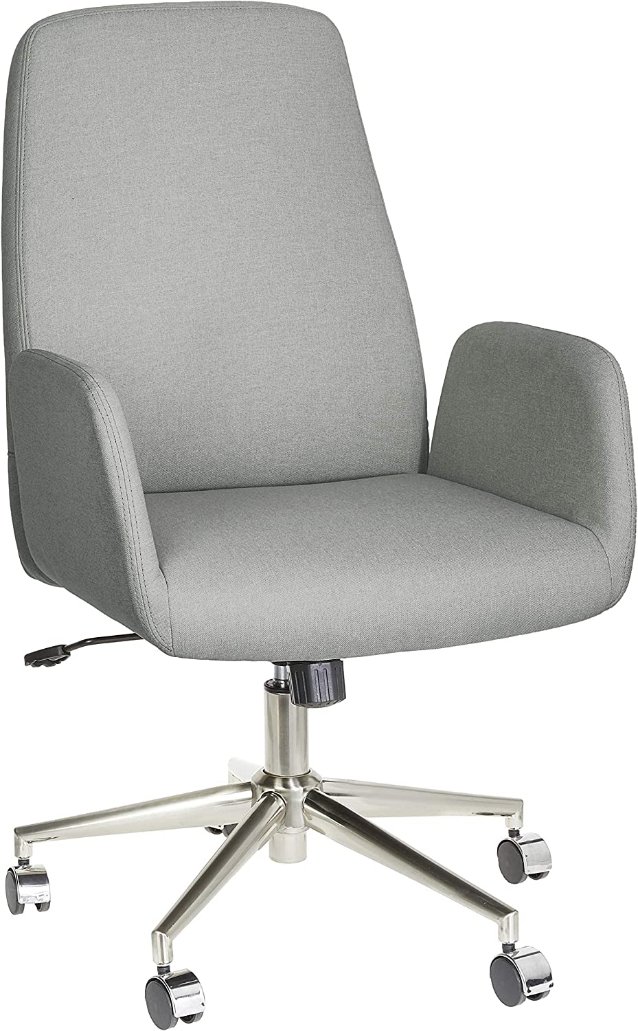 Amazon Brand – Rivet High-Back Adjustable Swivel Office Chair with Chrome Metal Base, 17.9