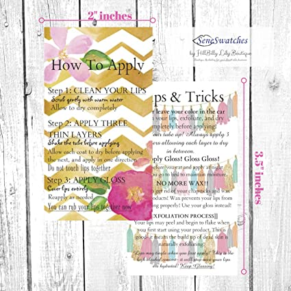 how to apply lipsense by senegence application instruction cards pk of 50 double - Senegence Business Cards