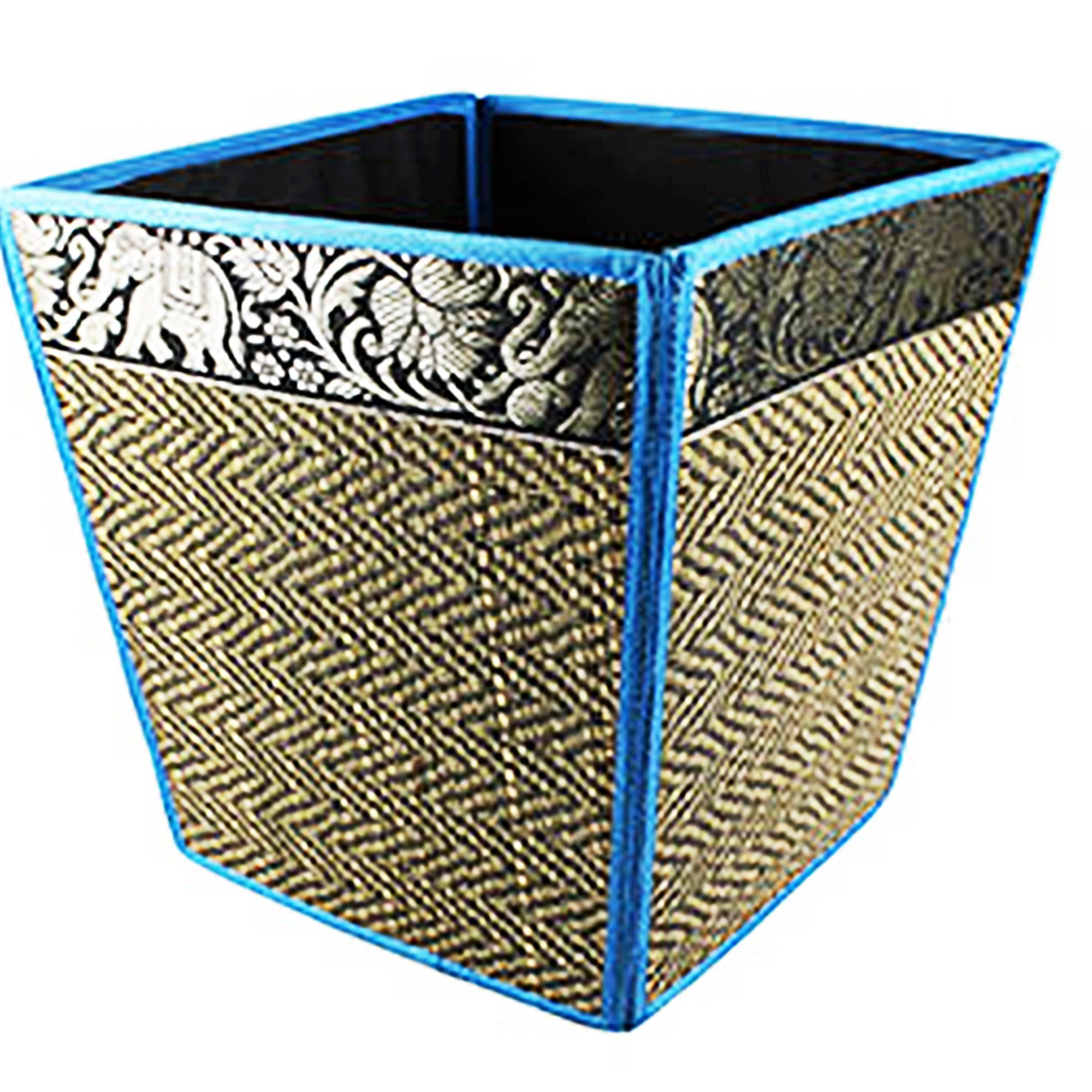chantubtimplaza Waste Basket Thai Elephant Silk Reed Paper Bin Home Decor Blue Color by chantubtimplaza