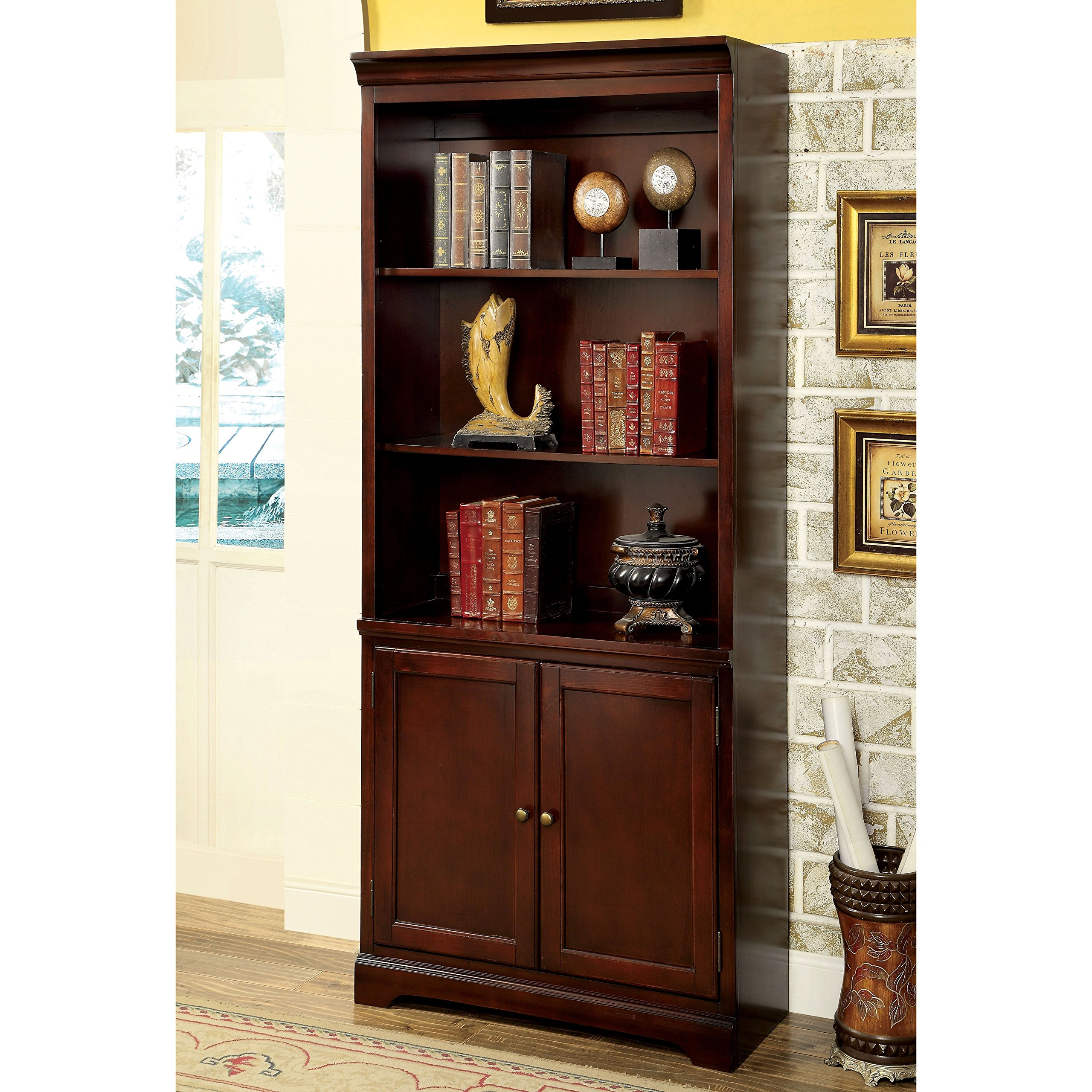 Furniture of America Ericks Transitional Cherry Bookshelf by Furniture of America