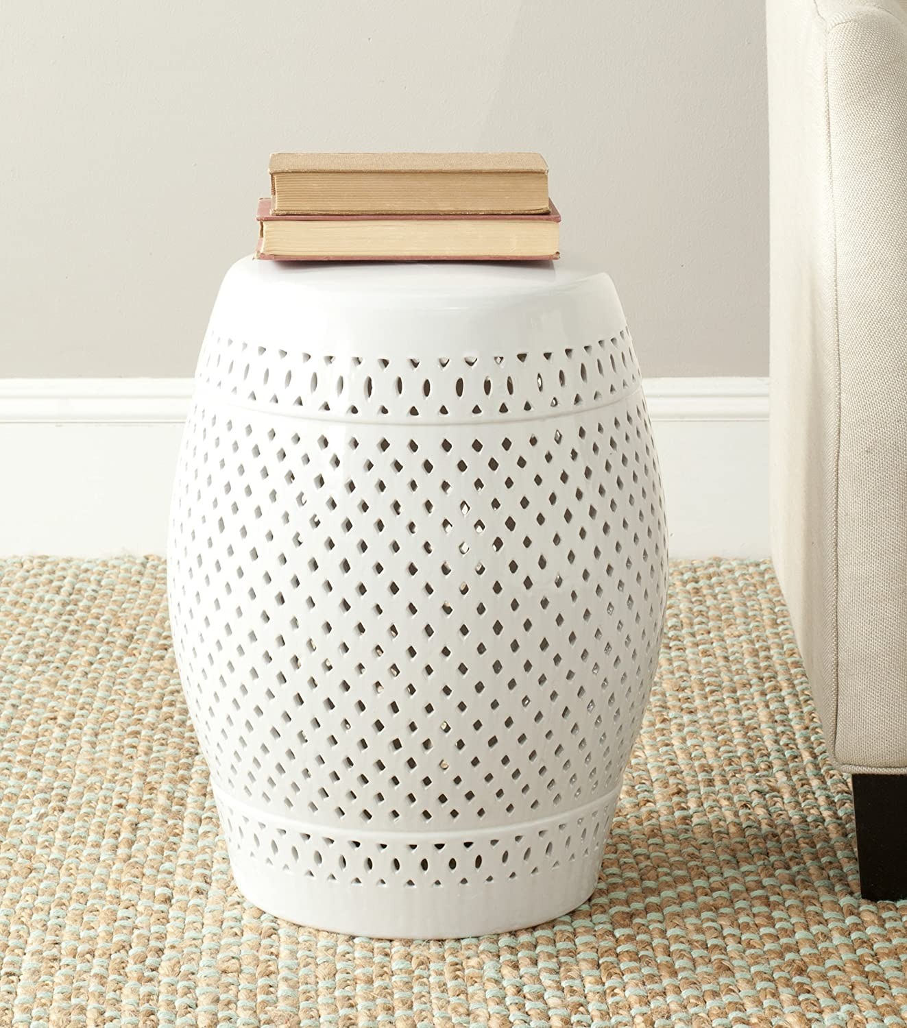 Safavieh Diamond Ceramic Decorative Garden Stool, White