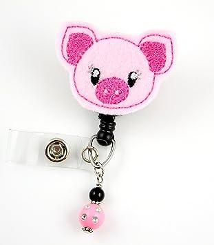 Holder Badge Reel Cute Pig Retractable Badge Retractable ID Badge Holder Badge Reel Clip Nurse Badge Reel Felt Badge Reel Badge Pull