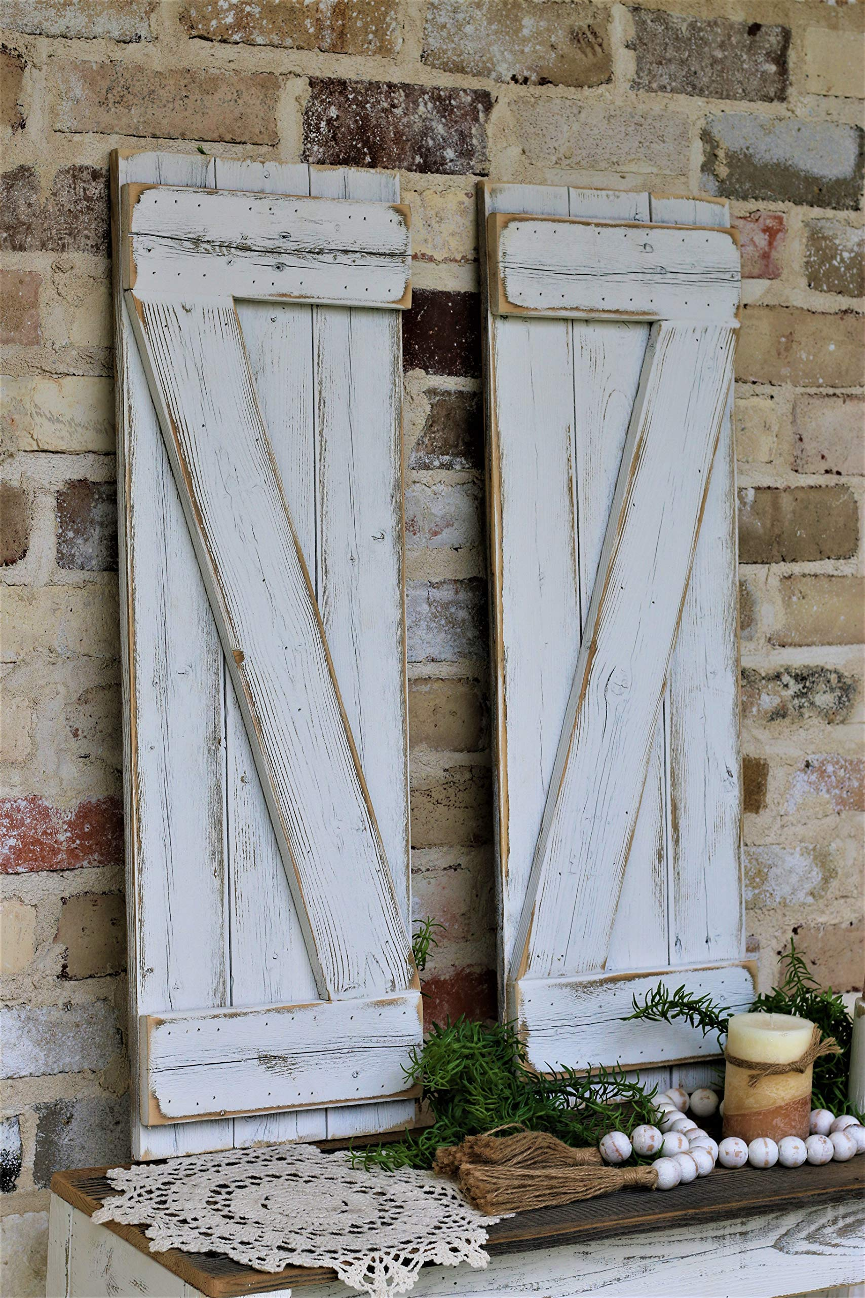 White Barn-wood Shutters by Doug and Cristy Designs