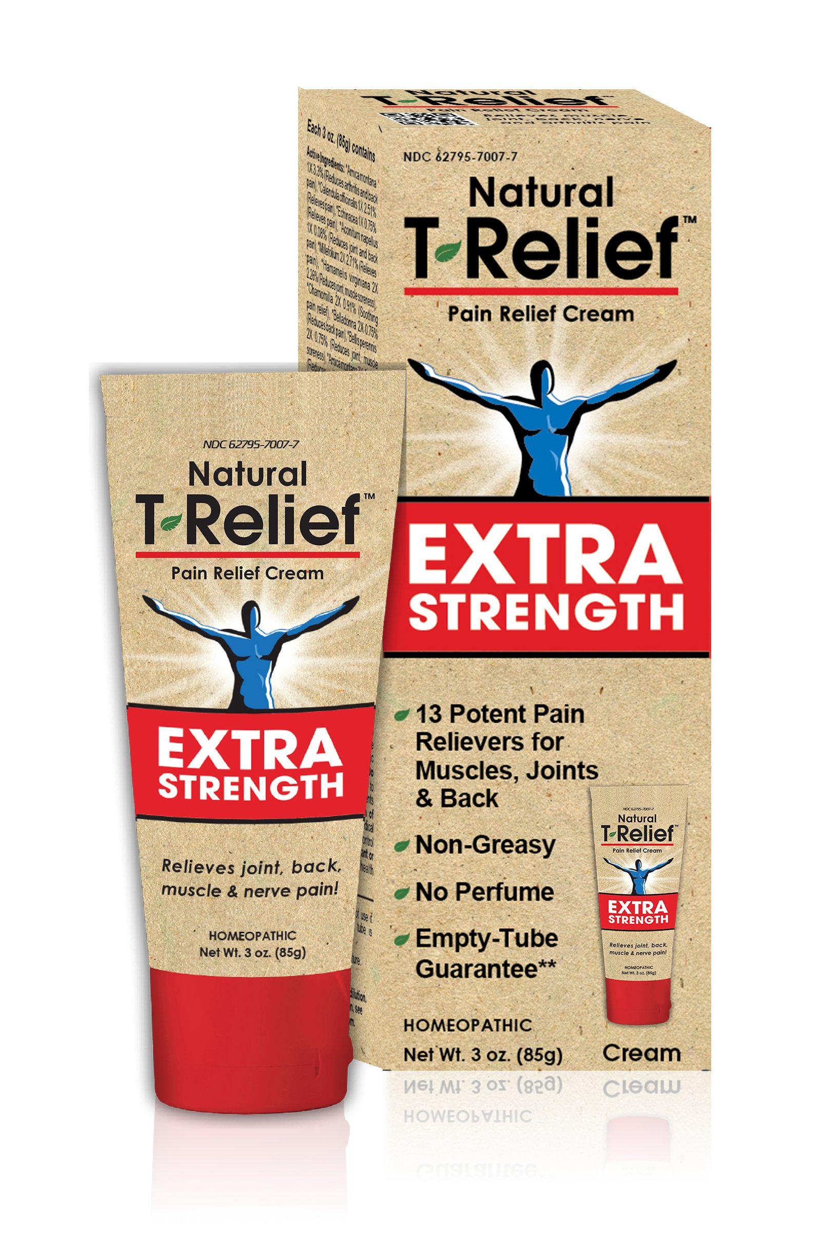 T-Relief Extra Strength Pain Relief Cream for Joint, Back and Muscle Pain and Stiffness - Homeopathic Formula with Arnica - 3 Ounce