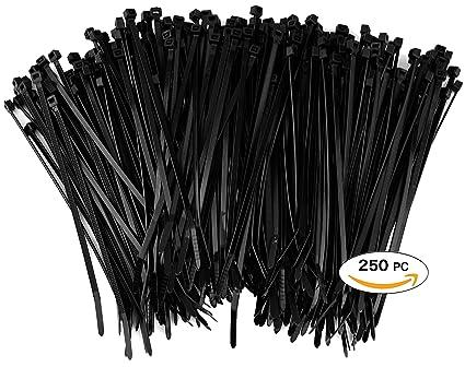 Amazon.com: 250 Premium Heavy Duty Zip Ties | Black Nylon Cable ...